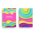 modern paper cut cover templates set vector image vector image