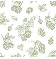 monochrome seamless pattern with hop flower buds vector image