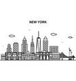 new york city tour cityscape skyline line outline vector image