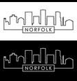 norfolk city skyline linear style editable file vector image vector image