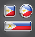 Philippines flag glass buttons vector image