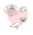 romantic hand drawn cartoon with pink vector image vector image