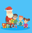 santa claus giving presents to a group of kids vector image