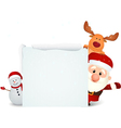 santa claus with reindeer and snowman vector image vector image