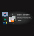 send and receive data banner internet with icons vector image vector image
