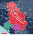 serbia kosovo and montenegro detailed editable map vector image vector image