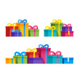set variety group gift boxes with ribbons vector image