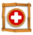 swiss flag on round button vector image vector image