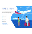 time for travel website landing template vector image vector image