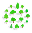 tree icons set isometric 3d style vector image vector image