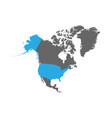 usa is highlighted in blue on the north america vector image vector image