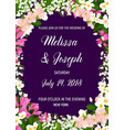 wedding invitation with frame of jasmine flower vector image