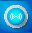 white wi-fi network symbol icon on blue background vector image vector image