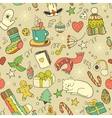 Winter doodle collection Seamless background vector image vector image