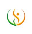 happy people sport yoga beauty logo vector image