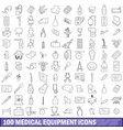 100 medical equipment icons set outline style vector image vector image