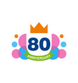 80th anniversary colored logo design happy vector image vector image