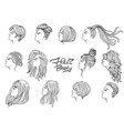 a set twelve women s haircuts and hairstyles vector image