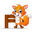 alphabet f with fox cartoon vector image