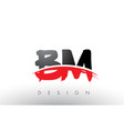 bm b m brush logo letters with red and black vector image vector image