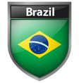 brazil flag on badge design vector image