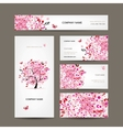 Business cards design with floral tree pink vector image vector image