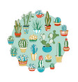 cacti and succulents round vector image