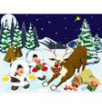 children and reindeer vector image vector image