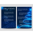 Christmas blue flyers brochure template vector image