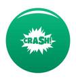 comic boom crash icon green vector image