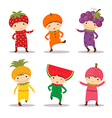 Cute kids in fruit costumes Set 1 vector image vector image