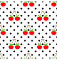 cute pattern red cherry seamless vector image vector image