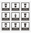 disposable coffee cup signs and icons set vector image vector image