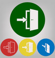 door exit sign 4 white styles of icon at vector image