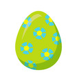 easter egg with blue flowers isolated vector image vector image