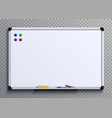 empty whiteboard with marker pens and magnets vector image