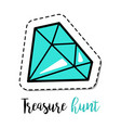 fashion patch element blue gem stone vector image