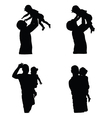 father with girl silhouette vector image vector image