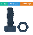 Flat design icon of bolt and nut vector image vector image