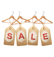 Four wooden hangers with price tags forming the vector image vector image