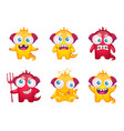 funny tailed monsters set vector image vector image
