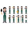 gardener woman cartoon character in uniform vector image vector image