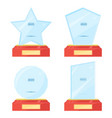 glass trophy plaque awards set vector image vector image
