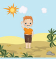 hot weather boy hot weather boy vector image