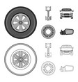 isolated object of auto and part icon set of auto vector image