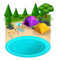isometric expedition travel hiking webpage with vector image vector image