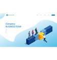 isometric teamwork with puzzle teamwork vector image vector image