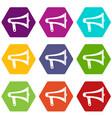 loudspeaker icon set color hexahedron vector image vector image