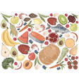 natural products delicious vegetables fruits and vector image vector image