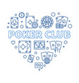 poker club concept outline heart-shaped vector image